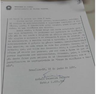 Trecho do parecer da censura sobre o filme Desaparecido, de Costa-Gravas (Arquivo Naciona)