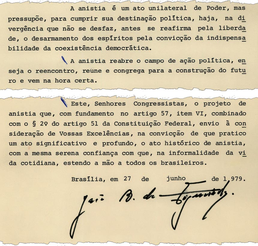 Em mensagem ao Congresso, Figueiredo defende projeto de anistia (imagem: Arquivo do Senado)