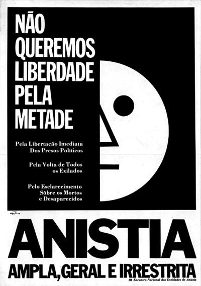 Cartaz pede anistia sem restrições (imagem: reprodução