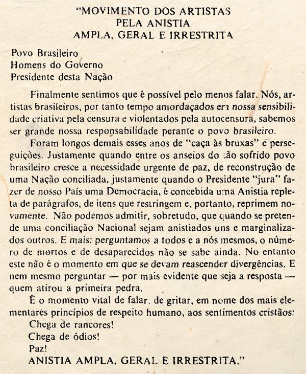 Manifesto assinado por artistas como Eva Wilma, Glória Menezes e Antônio Fagundes (imagem: Arquivo do Senado)