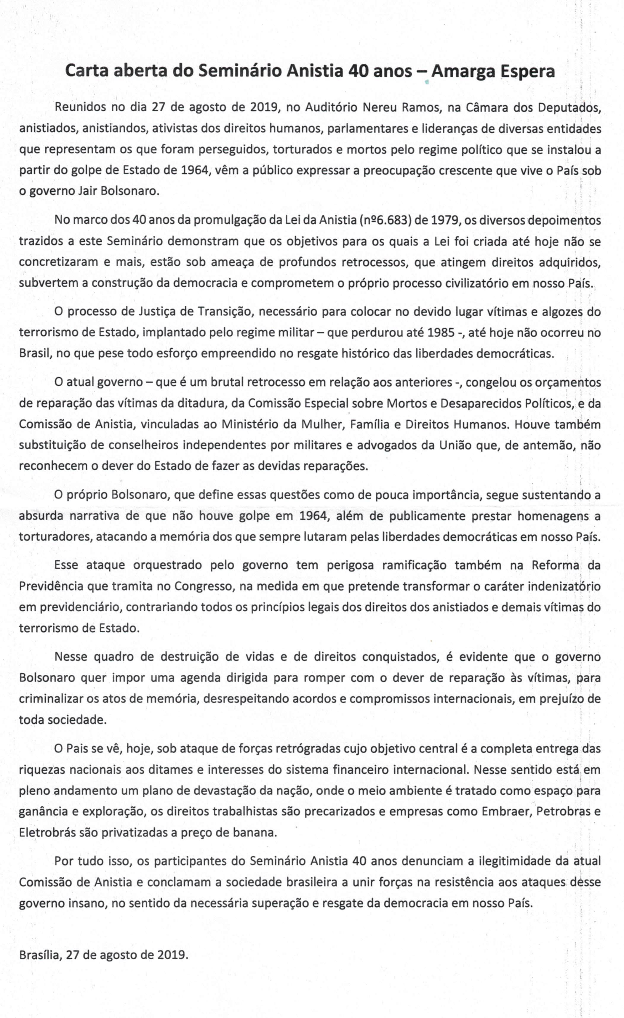 CARTA ABERTA SEMINARIO 40 ANOS 2019