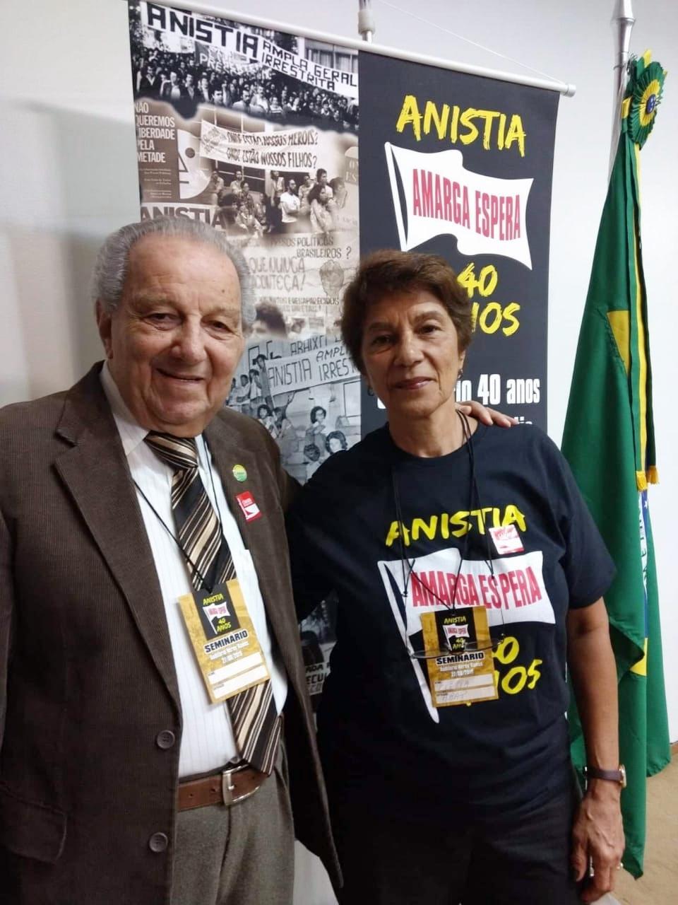 """Saulo Gomes e Clelia Hunke, respectivamente vice-presidente e presidente da ABAP -Seminário Anistia 40 anos """"Amarga Espera"""" - dia 27"""